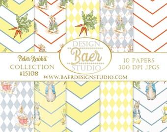 PETER RABBIT Digital Paper:Easter Paper, Beatrix Potter Digital Paper, Peter Rabbit Baby Shower, Peter Rabbit Digital Scrapbook Paper