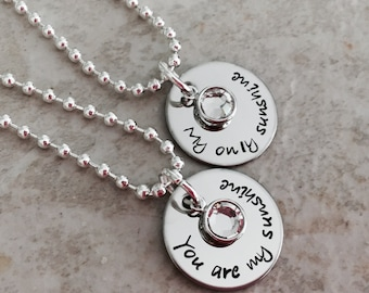 You are my sunshine my only sunshine mother daughter best friends sister necklaces hand stamped