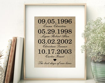 The Best Days of Our Lives Burlap Print | Mother's Day Gift Idea | Birthday Gift for Mom | Personalized Family Children Birth Dates Sign