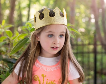 Glitter Felt CROWN. Birthday crown. Princess Party Favor. Princess Crown. Prince Crown. Prince Party. King Crown. Queen Crown. Party Favor.