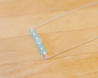 Chalcedony & Freshwater Pearl Chain Necklace