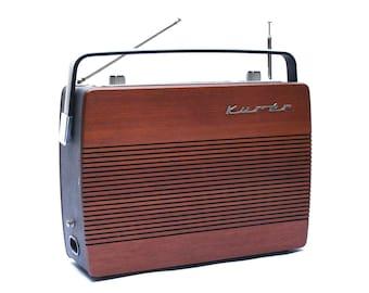 Vintage Scandinavian RADIONETTE KURER wooden radio, Rosewood portable radio transistor, Made in Norway, Po Go Fm, Collectable, Decor, 1970s