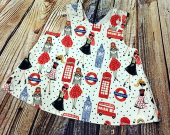 """Little Girl Dress """"Dixie"""" Crossover back Pinafore dress 9-12 month // Baby Shower Gift // Handmade Dress // Gifts for Baby Girls"""