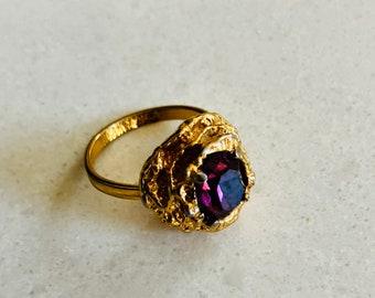 Antique Silver-Tone Filigree Ring w Semi-precious Amethyst - Adjustable lxJuSV