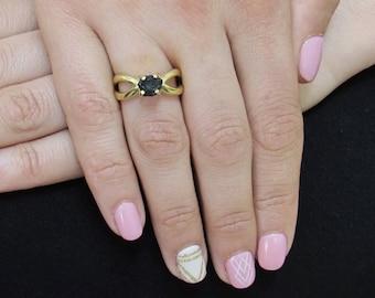 Real Raw Diamond Ring, Rough Diamond Ring, 1.50 Carat Uncut Diamond Ring, Black Diamond Ring, Raw Black Diamond Ring, Engagement Ring