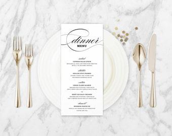 The Willow Romantic Calligraphy Wedding Menu Card
