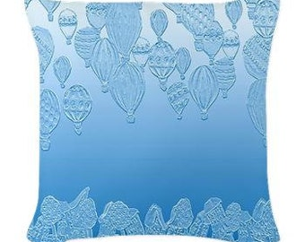 Hot Air Balloons Ice Blue Folk Art Pillow - Woven Throw Pillow Whimsical Art by Renie Britenbucher
