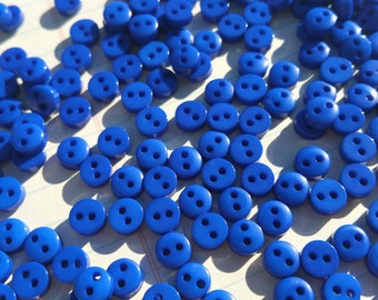 "Tiny Blue Buttons - Little Royal Blue Button - Small Buttons - 1/4"" Wide - 6mm - 100 Buttons"