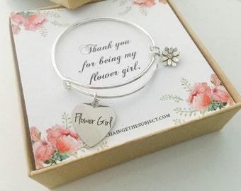 Flower Girl Gift, flower girl bracelet, charm bracelet, child's bracelet, wedding party gifts