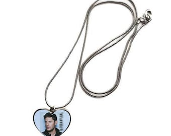 Supernatural Jensen Ackles Dean Winchester  heart shaped Silver Tone Necklace