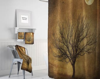 Shower Curtain Rustic Primitive Grunge Tree And Moon, Optional Bath Mat And  Towels , Bathroom