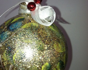 ON SALE 10% OFF Ornament with Blueberries hand painted