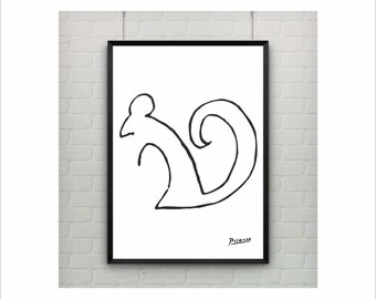 "Pablo Picasso "" Squirrel"" Oneliner poster on paper or canvas / Abstract Animal / up to A0 size / Minimalist Art / Wall Art / Kids Room Decor"