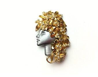 Cameo pin, Art nouveau brooch, ultra craft pin, pearl pin, gold pin, art nouveau pin,  vintage jewelry