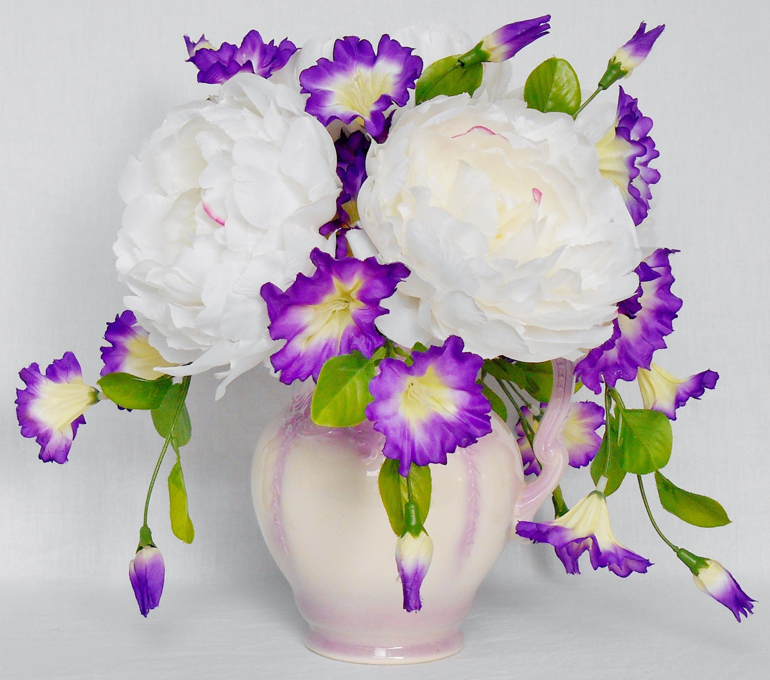 Artificial Flower Arrangement White Silky Peonies Purple