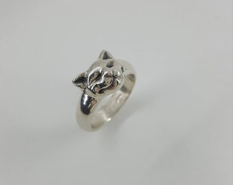 Happy Cat Ring in Sterling Silver, Silver Cat Ring, Cat Jewelry, Silver Cat Face Ring, Cute Cat Ring, Sleeping Cat Ring, Silver cat jewelry