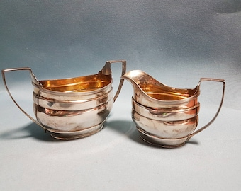 Sterling Silver Creamer and Sugar Bowl by S. Blackensee and Sons circa 1920