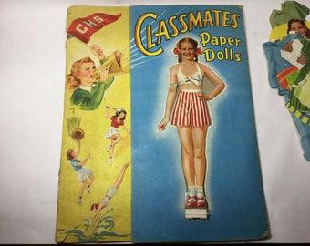 1948 Classmates Paper Dolls, Saalffield Pub. Co, Akron Ohio, 40s Paper Dolls