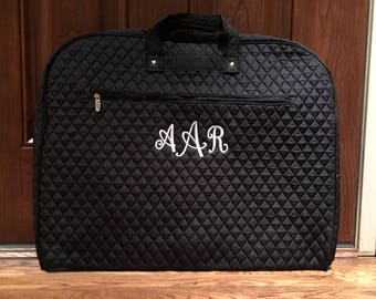 Monogram Garment Bag - Personalized Quilted Garment Bag - Cheer Dance Garment Bag - Travel Garment Bag - Luggage Carrier - Black Garment Bag