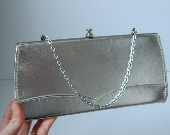 Vintage 1960s Silver Evening Bag with Hideaway Handle that Converts into a Clutch