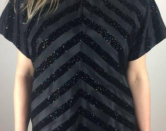 Vintage 50's black taffeta raised flocked glitter inverted velvet stripes