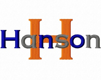 """Hanson Machine Embroidery Font - Sizes 1"""",2"""",3"""",4"""" BUY 2 get 1 FREE"""