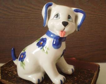 Vintage porcelain dog/Porcelain animal figurine/1970s