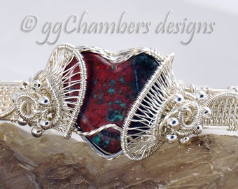 Sterling Silver Woven Wire Helix and Sonoran Sunrise Heart Bracelet