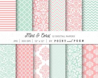 Damask Digital Paper, Coral, Mint, pink, damask, aqua, teal, wedding, chevron, stripes - Commercial Use
