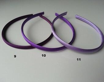 9  serre tête recouvert de satin violet aubergine