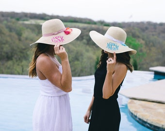 Monogrammed Floppy Hats | Personalized Sun Hat |  Beach Hat | Bachelorette Party | Bachelorette Party favor | Bachelorette Gift | Floppy Hat