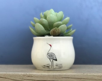 Crane Hand Painted Mini Planter Pot 2 Inch Succulent Planter Jewelry Cup  Pencil Holder NavigateNorth