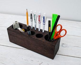 Oak Ton Antique Large Desk Organizer for Tools, Personalized Office Desk Accessories, Pencil Holder, Office Decor, Desk Decor, Gift for ALL