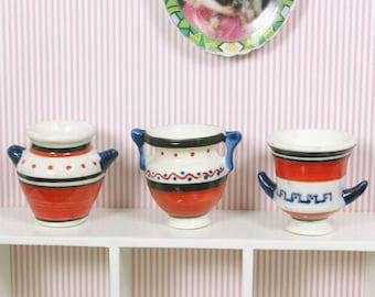 1/12 Miniature ceramic pot set of 3