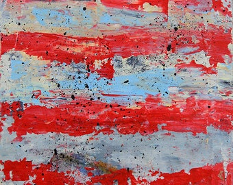 Red & Blue Striped Abstract Art. Affordable Home Decor. Abstract Painting.  Palette Knife Painting. Christmas Gift for Him