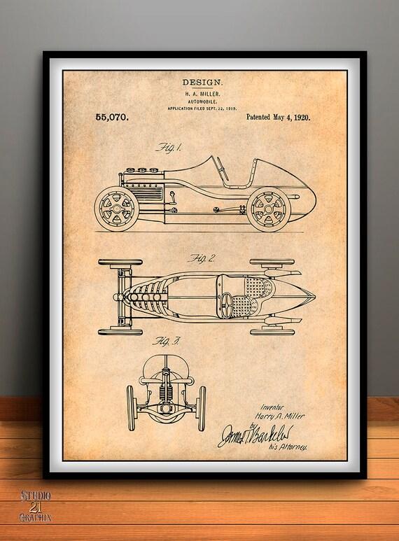 1920 H. A. Miller Race Car Patent Automobile Patent Race