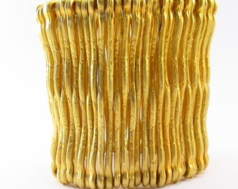 Uniquely Beautiful Gold Plated Wire Cuff Bracelet