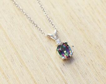 Mystic Topaz Necklace, Silver Topaz Necklace, Sterling Silver Necklace, Rainbow Topaz Necklace, Rainbow Mystic Necklace