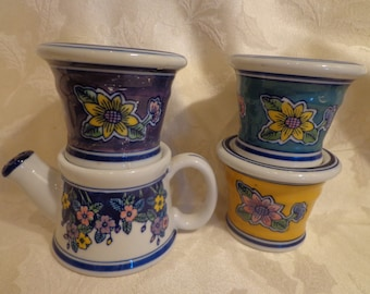 French Country Mini Planters, Cottage Style Floral Yellow and Blue Mini Planters