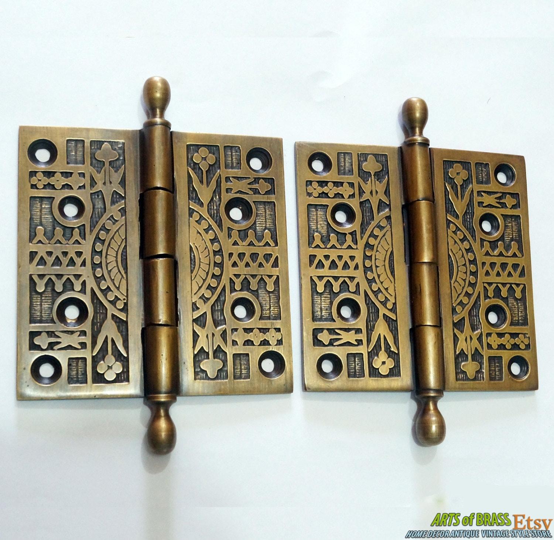 Pair / 2 pcs Antique Vintage Solid Brass Large Door HINGES DECORATIVE &  ENGRAVED - Pair / 2 Pcs Antique Vintage Solid Brass Large Door HINGES