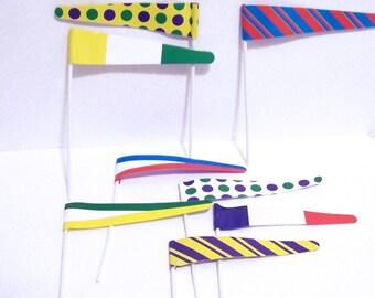 12 Colrful Pennant Flag Cupcake Picks