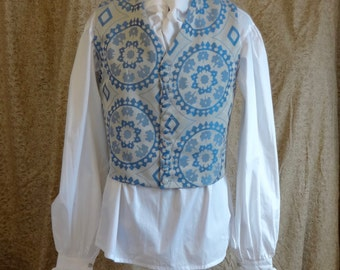 "Readymade Regency Cutaway Collar Waistcoat, Blue And Silver Jacquard, 42"" Chest"
