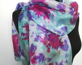 Hand painted Silk scarf 40x150 cm, purple, pink, turquoise colours, fashionable, graceful, special gift for Women, for You