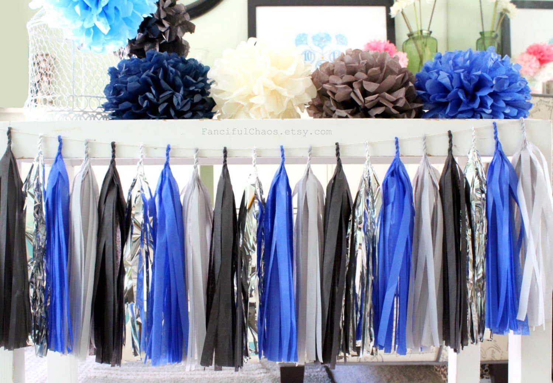 royal blue grey black silver tissue paper tassel garland. Black Bedroom Furniture Sets. Home Design Ideas