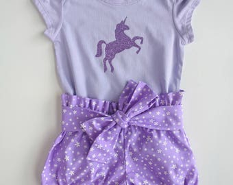 Size 1 'Purple Unicorn' Tee and Bloomers Set