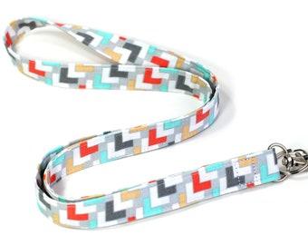 Fabric Lanyard, Breakaway Lanyard Opt., Detachable Lanyard or Wristlet, Trendy Coral Gray White Mint Lanyard, Geometric Lanyard, ID Badge