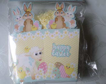 x 5 Easter Bunny/sheep pattern cardboard boxes + straw synthetic yellow/fold 16 x 14.5 cm(ouvert: 10 x 7 cm)