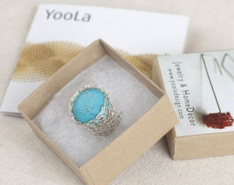 Turquoise ring stone in silver, Wire crochet ring, Turquoise Ring Sterling Silver, Turquoise Rings For Women, Statement Ring Turquoise