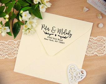 Antler Return Address Stamp, Self Inking Stamp, Custom Address Stamp, Personalized Stamp, Deer Rubber Stamp, Calligraphy Stamp, Heart Stamp