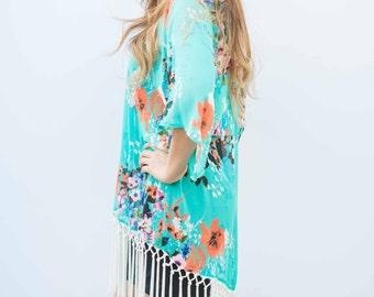 SALE! Turquoise Floral  Fringe Kimono